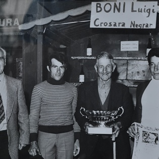 Grandfather Luigi with Alessandro to the right - Prizegiving Palio of the Recioto years 80